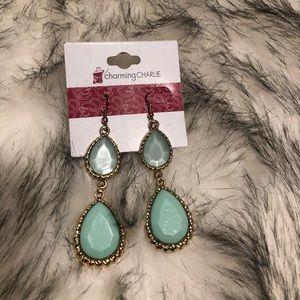 Mint green/gold statement earrings